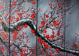Modern Black Floral Oil Painting 1038 - 60x32in