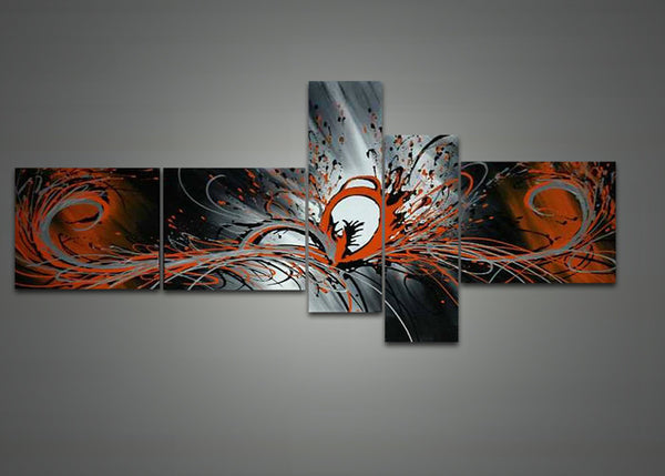 Orange Grey Abstract Oil Painting 1040 - 66 x 36in