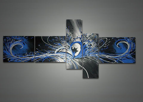 Blue Grey Abstract Oil Painting 1041 - 66 x 36in