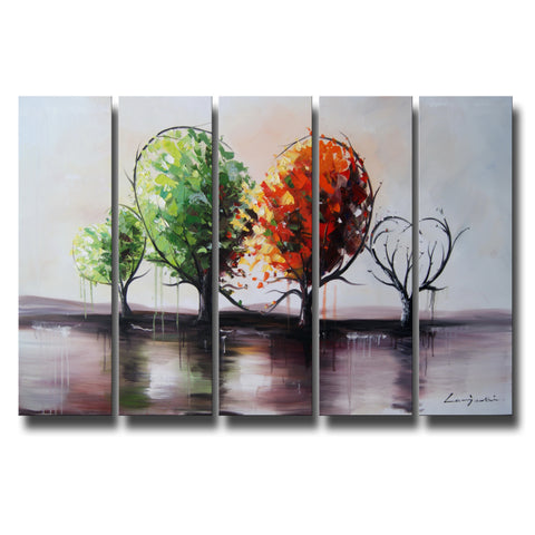 Red & Green Tree Art Painting 1087 - 60x 32in