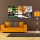 Green & Grey Forest Art - 4-Season Trees 1088 60x32in