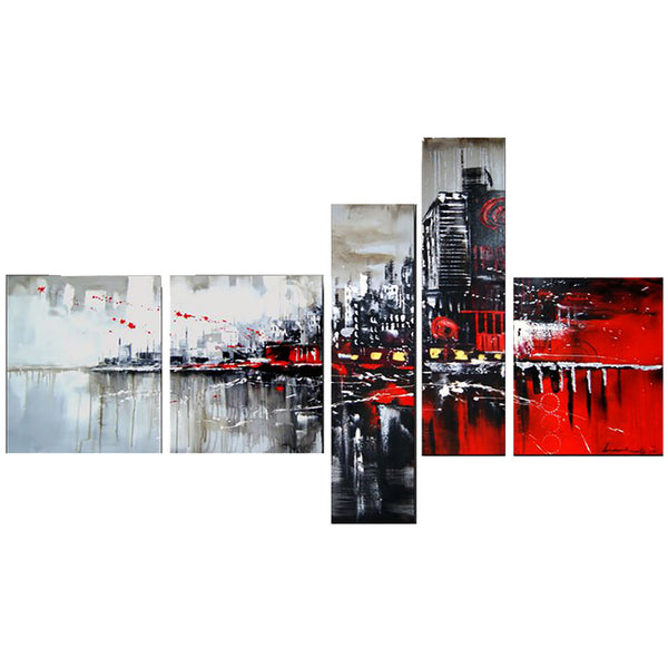 Red & Black Cityscape Art Painting 1101 - 63x33in