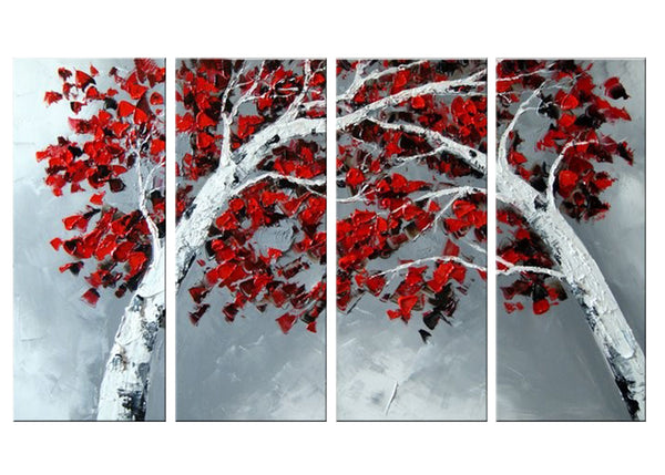 Textured Red & Grey Forest Art 1102 - 55x32in
