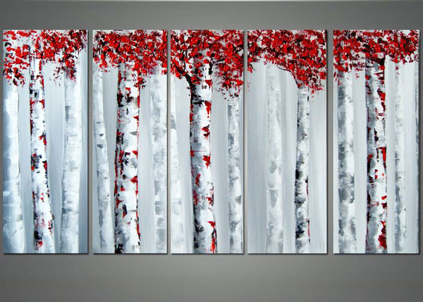 Red & Grey Forest Art 1103 - 60x28in