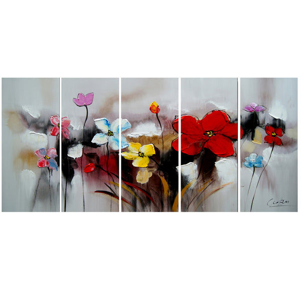 Textured Red Flowers Painting 1105 - 60x28in