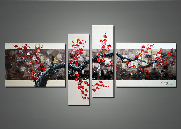 Black & Red Tree Art Painting 1106 - 67x30in