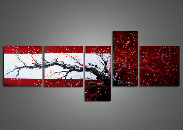 Red & Black Modern Tree Art Painting 1109 - 63x30in
