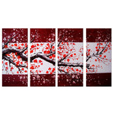 Modern Red Tree Painting 1110- 56x32 in