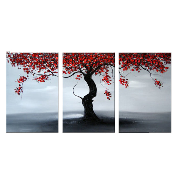 Grey Landscape with Red Tree 1122 - 48x24in