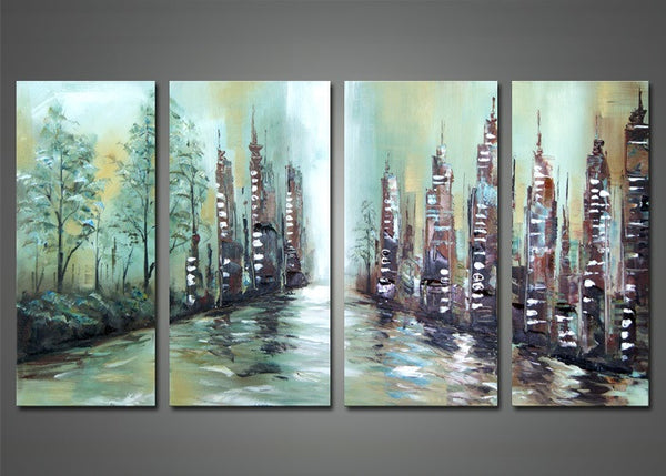 Modern Riverscape Canvas Painting 1136 - 56x28in