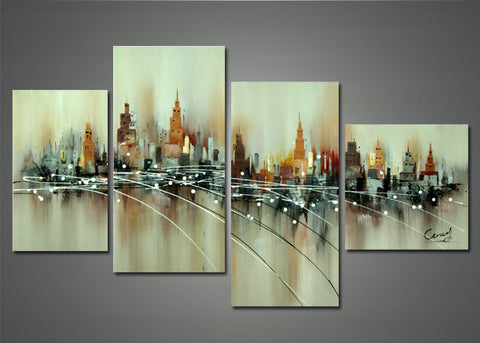 Brown Abstract Cityscape Painting 1141 - 52x32