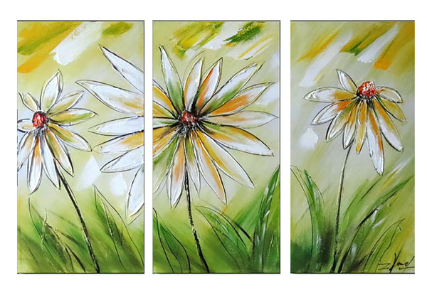 Modern White and Green Floral Art 1160 - 36x32in