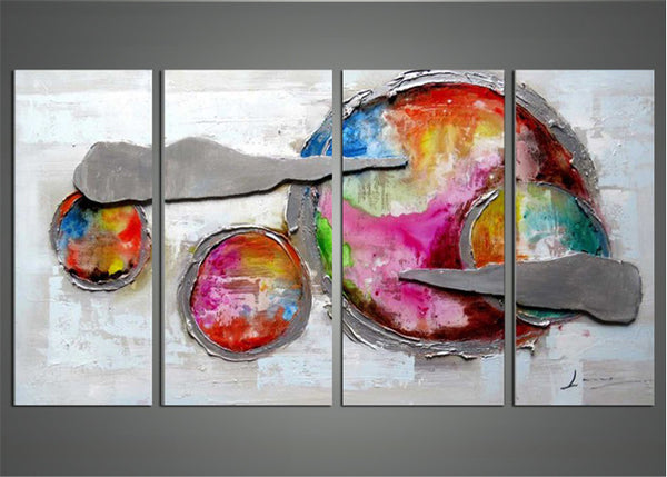 Highly Textured Abstract Planet Painting 1169 - 56x28in