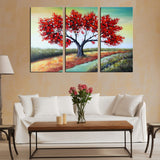 Colors of Nature - Red Tree Landscape Wall Art 1189 - 42x32in