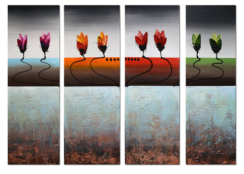 Abstract Multi-Color Flowers Art 1192 - 48x28in