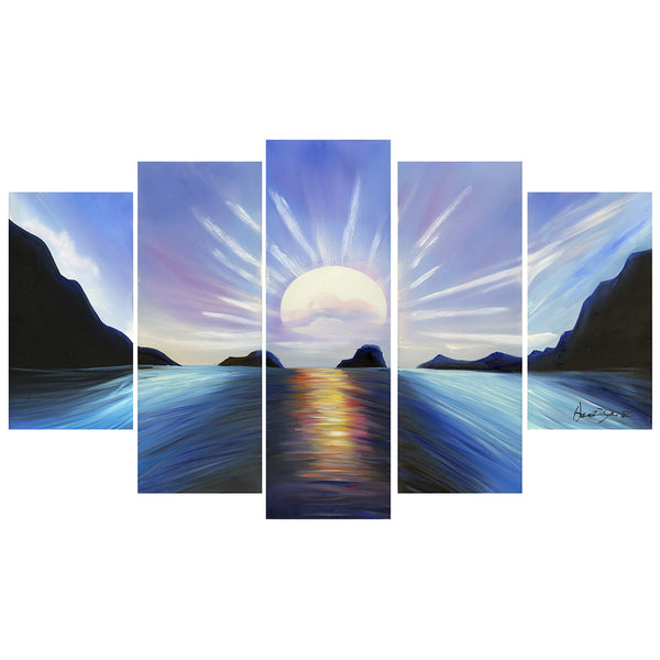 Blue Seascape Painting 119 - 58x36in