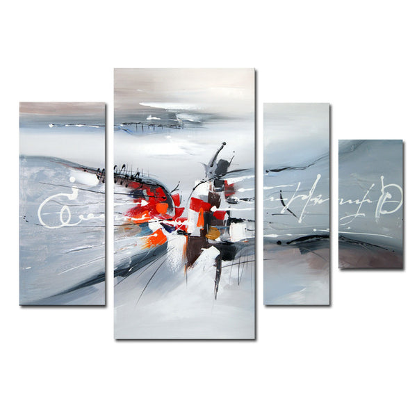Rhythmic - Abstract Grey, Red Canvas Art 1220 - 46x32in