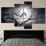 Love Birds - Romantic Art Painting - 1221 - 55x32 In - 4 Panels