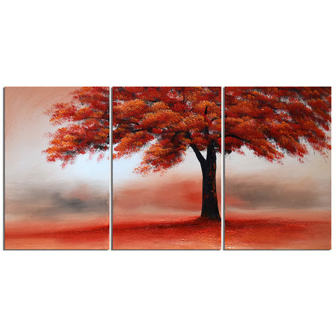 Red Tree in Solitude Art Painting 1228 - 48x24in