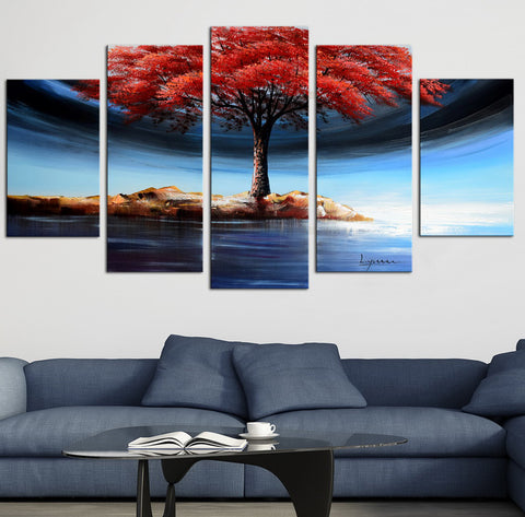 Tree on Island with Flowery Leaves 1233 - 60x32in