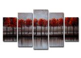 Heavily Textured Red Forest Art 1239 - 60x32in