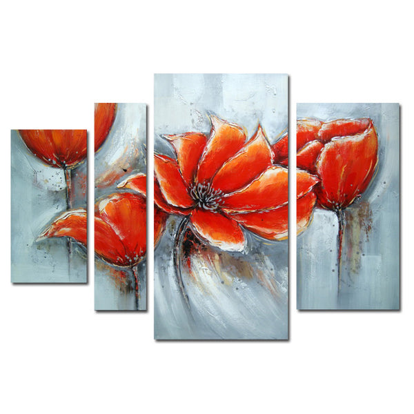 Open to the Sky - Red Floral Canvas Art 1322 - 46x32in