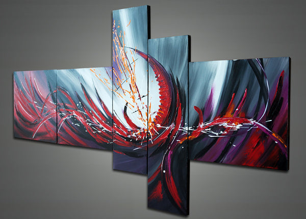 Modern Red Abstract Oil Painting 1015 - 64x32in