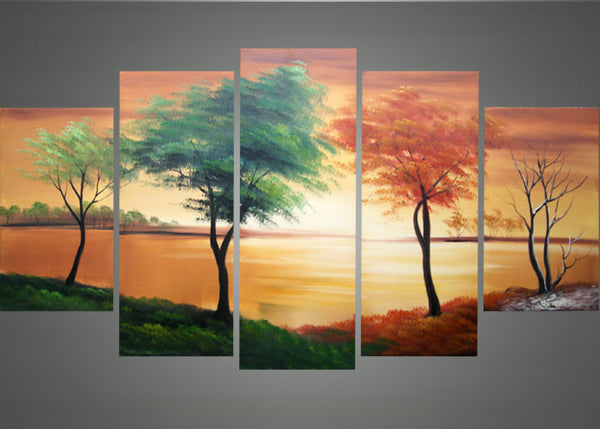 Trees Painting - Four Seasons Art 1373 - 60x32in