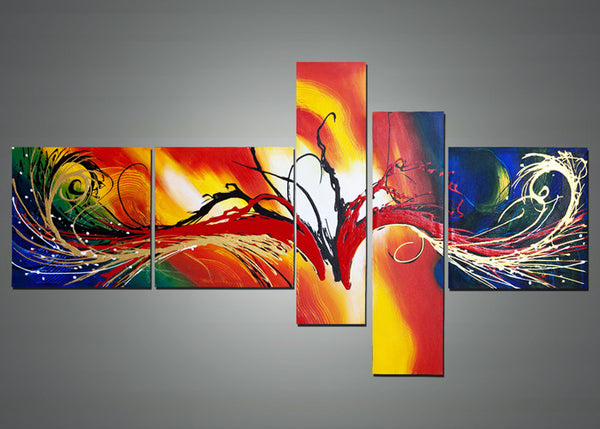 Large Orange Abstract Painting 1385 - 66 x 36in