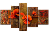 Brown Flower Painting Highly Textured 141 - 62x36in