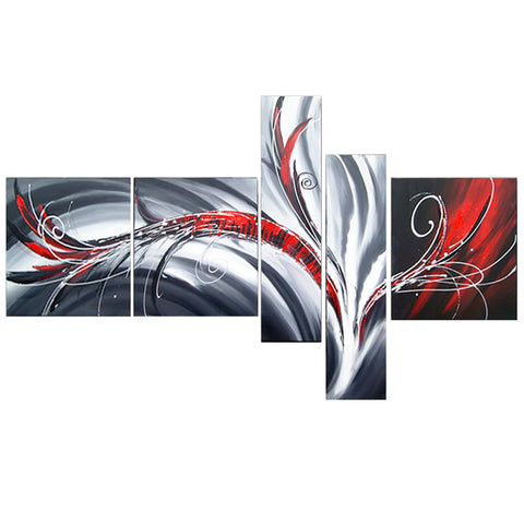 Red Grey Abstract Painting 143 - 64x34in