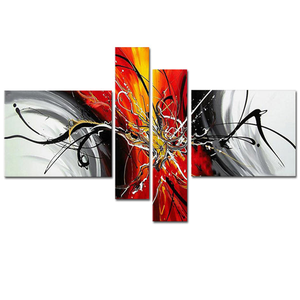 Orange Modern Abstract Art 164 - 64x34in