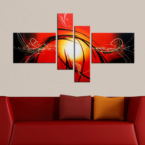 Red Abstract Canvas Art Painting 168 - 63x36in