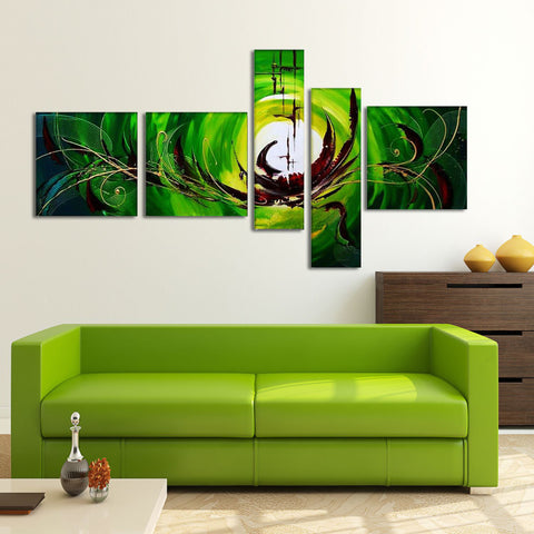 Green Abstract Art Painting 171 - 64x32in