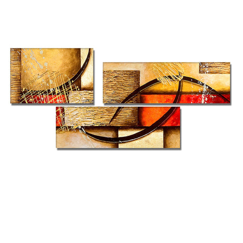 3 Panels Abstract Painting 250 - 54x28in