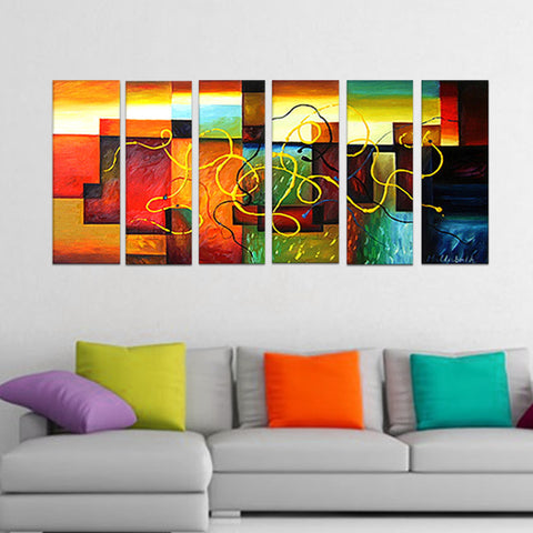 Large Abstract Oil Painting Multicolor 6 Panels   263   60x32in