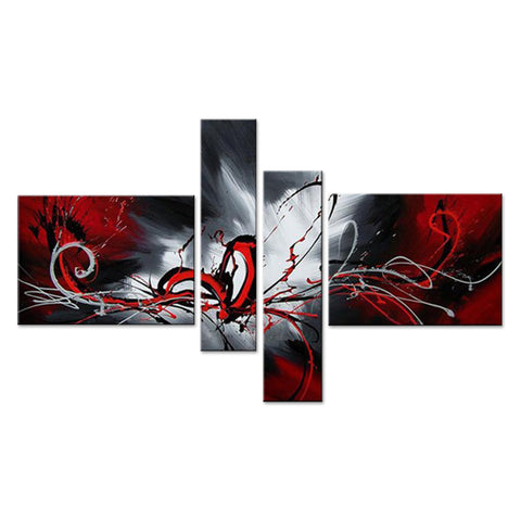 Red Abstract Canvas Painting 279 -  63x33in