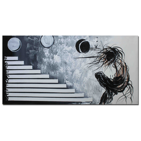Abstract Black Oil Painting - 281s - 32x16in