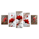 Modern Red Flower Painting -310- 64x36in