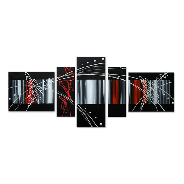 Abstract Oil Painting - Black, Red & Silver 311 - 60x30in