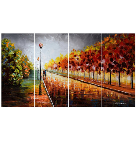 Landscape Oil Painting - Trees Stormy Autumn - 48x28