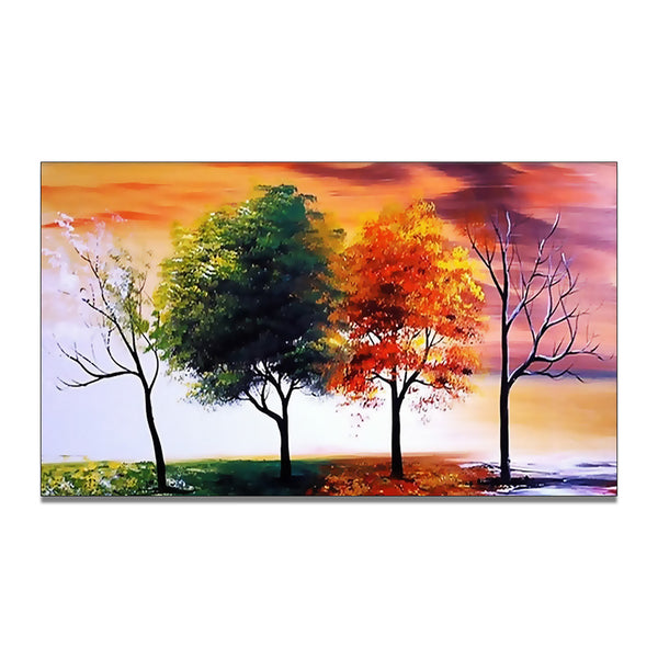 Modern Tree Wall Art - Four Seasons 373s- 16x32in