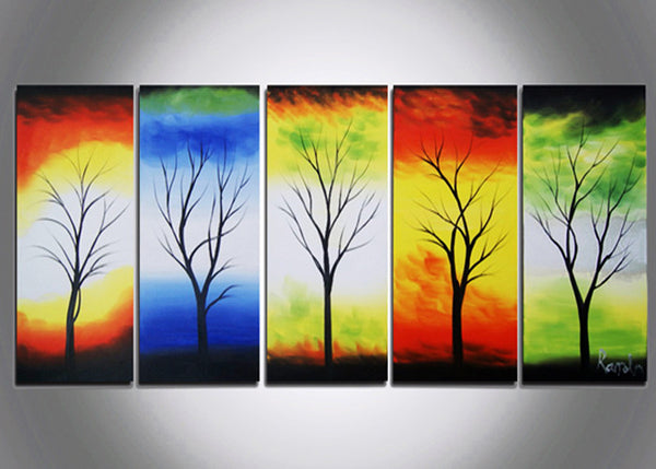 Modern Tree Canvas Art - 5 Elements 401- 60x28in