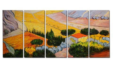 Van Gogh Enclosed Field with Ploughman Oil Painting 60 x 28 in