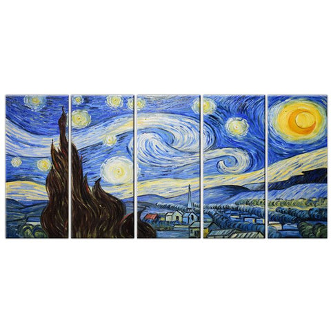 Starry Night Oil Painting on Canvas 4064 60x28in