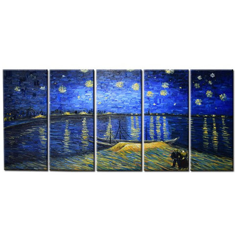 Van Gogh Starry Night Over the Rhone Oil Painting 4087 - 60x28in