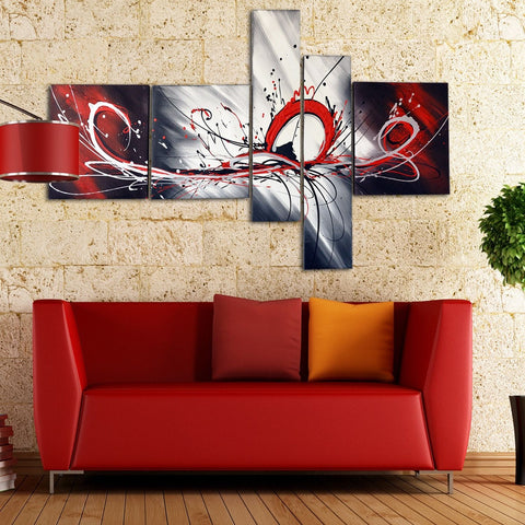 Large Red Abstract Painting 414   66 X 36in