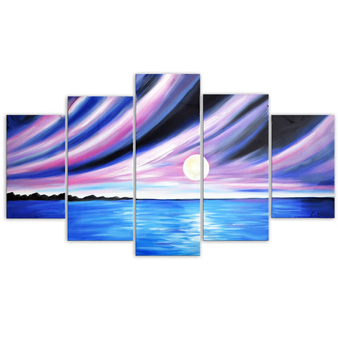 Blue Seascape with Purple Sky Oil Painting on Canvas 60x32 in