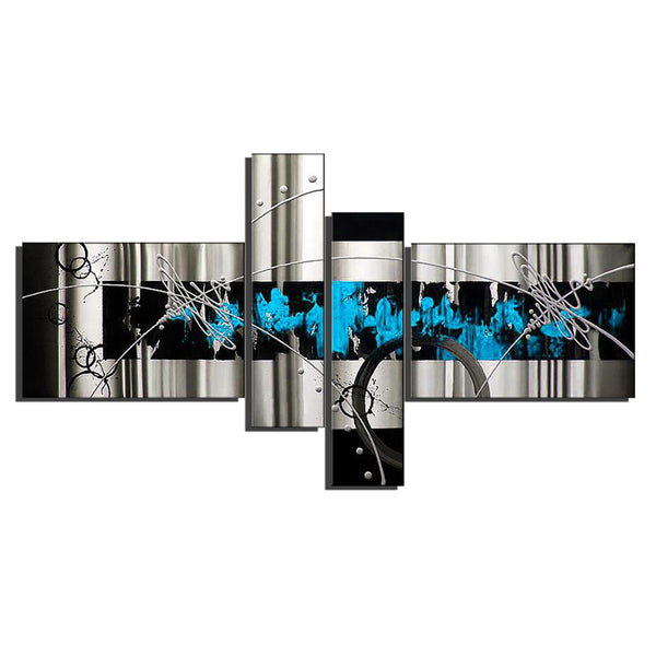 Blue Abstract Canvas Art - 4 Panels 711 - 64x32in