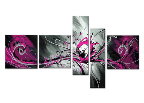 Pink Abstract Art Painting 804  - 64x32in